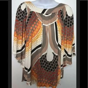 TRINA TURK Blouse Top Silk Scoop Geometric